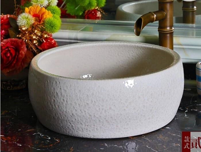 White color glazed porcelain art wash basin for bathroom or toilet oriental art hand carved ceramic porcelain wash basin bathroom sink