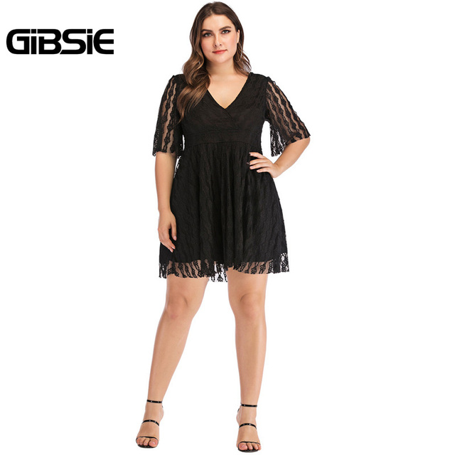 GIBSIE Plus Size V-Neck Backless Sexy Elegant Black Lace Dress 5XL 4XL Women Summer Casual Party Slim High Waist Mini Dresses 5