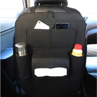 Auto Multi-Pocket Back Seat Storage Bag Car Seat Organizer Holder Car Styling Kicking Mat For Cup Food Phone Storage