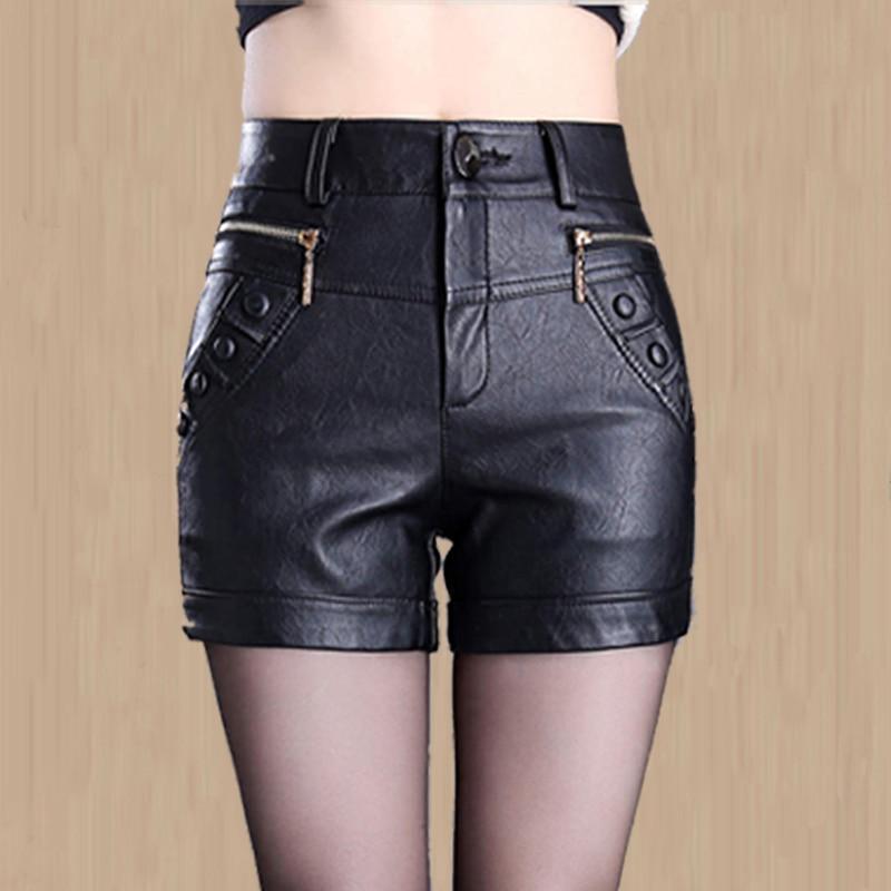 Shorts Office Female Autumn High-Waist Winter Plus-Size Genuine-Leather Women Lady New