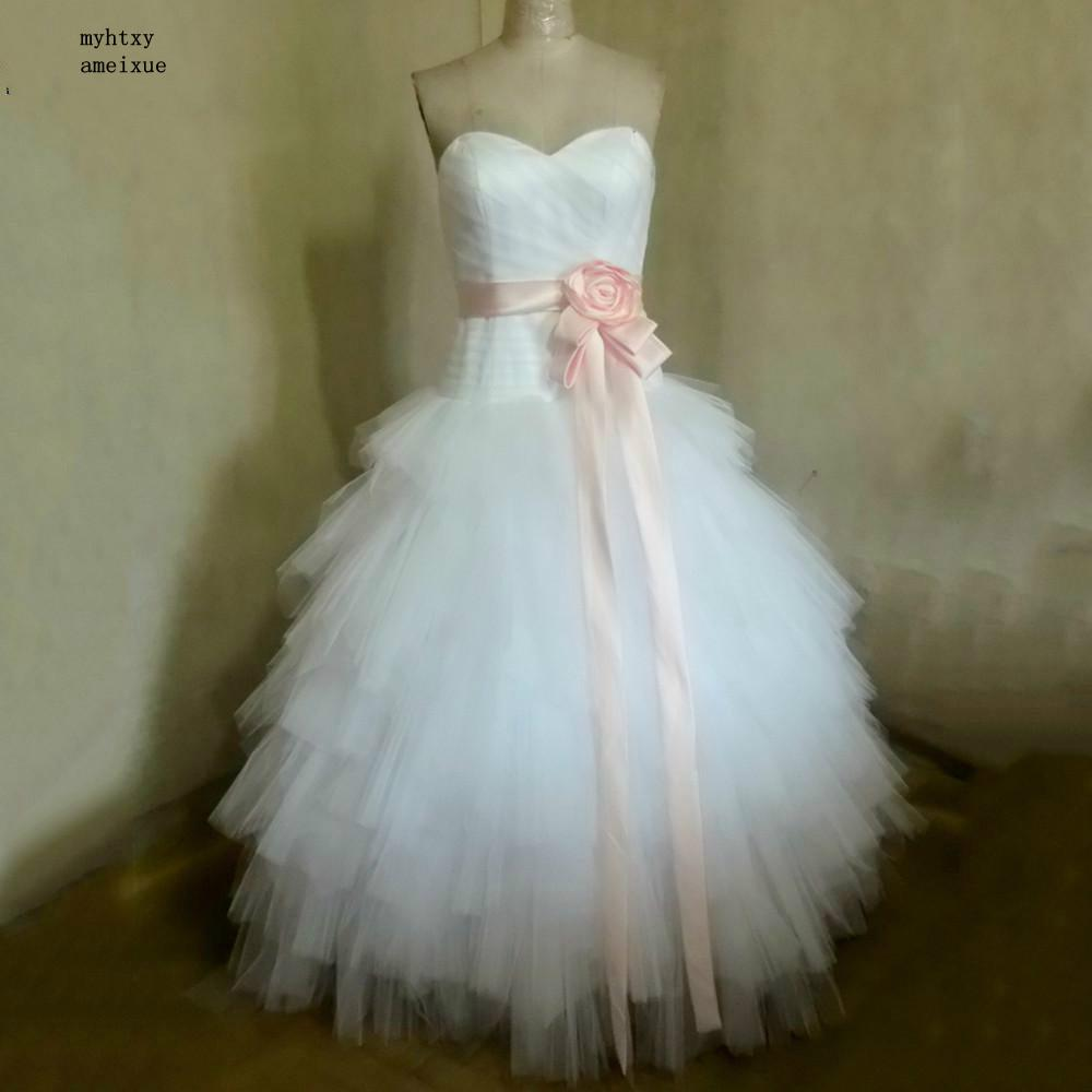 Buy wedding dress with pink ribbon and get free shipping on ...