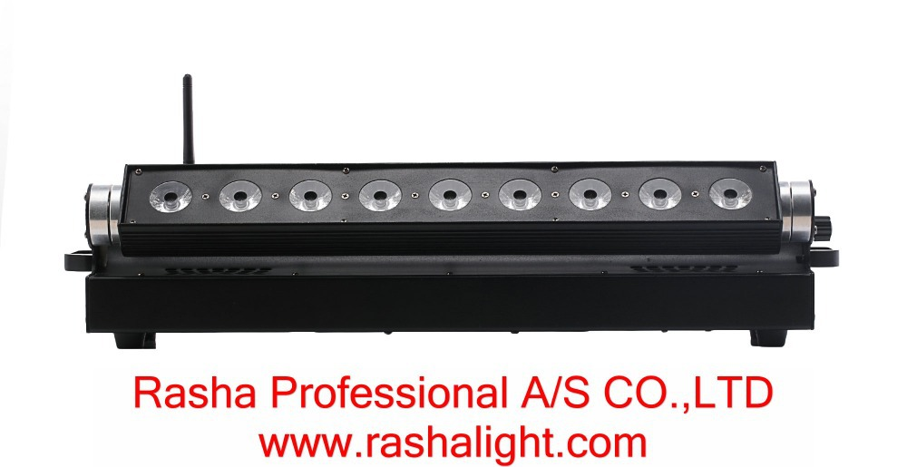 Rasha Hot Sale 2 4G 9pcs 10W RGBA RGBW 4IN1 Chargeble Powered Wireless DMX512 LED Wall