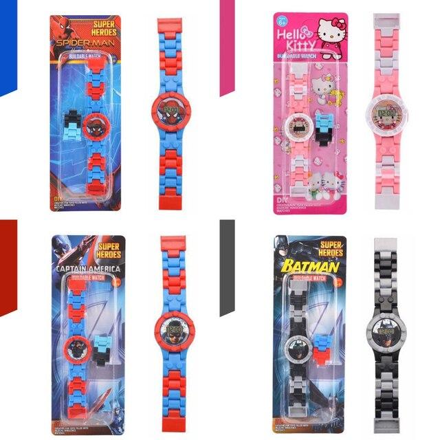 Batman Spiderman Superman Relógio de Super Herói Blocos de Construção Tijolos Compatíveis Legoed LegoING Brinquedos Para As Crianças Crianças Relógios Presente