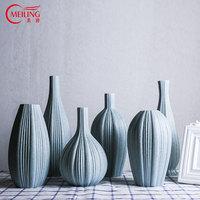 MEILING Fine Art Blue Ceramic Vase for Home Decoration Housewarming Gift Modern Big Porcelain Flower Vase Tabletop Centerpieces