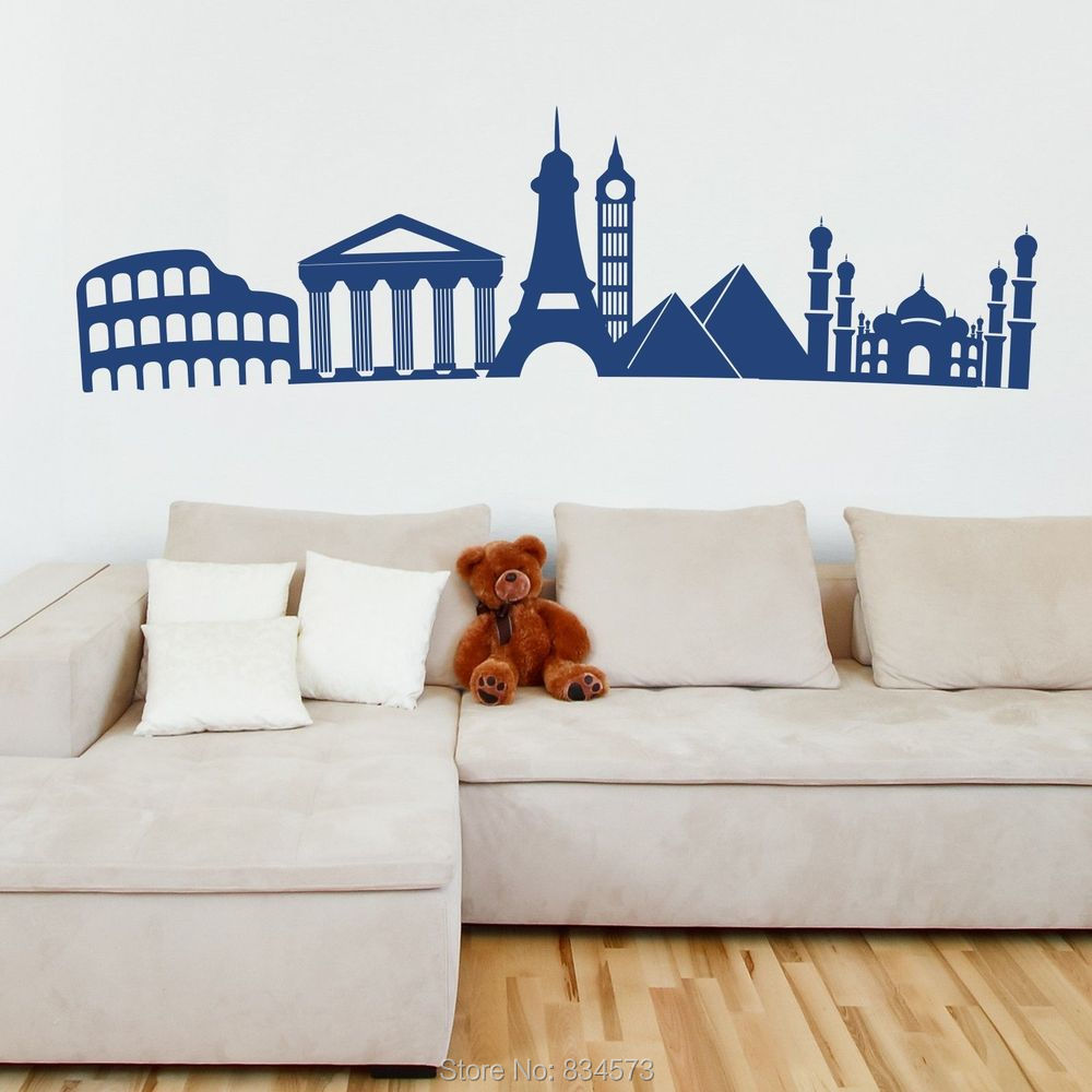 Online get cheap skyline wall murals for Cheap wall mural decals