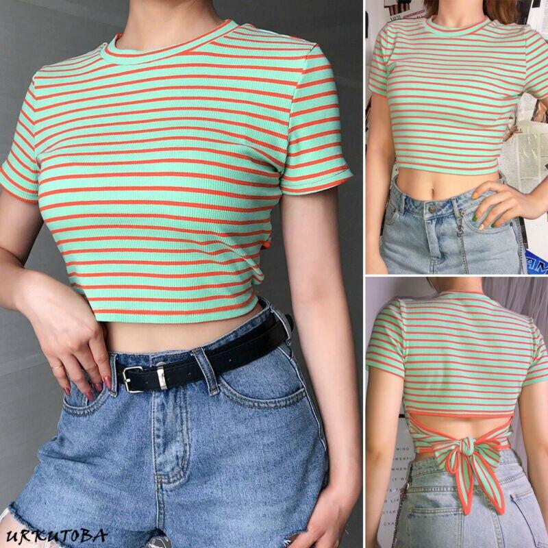 Women Ladies Slim  Pullover T-Shirt Short Sleeve Stripes Tops Shirt Blouse Crops