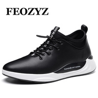 FEOZYZ Leather Running Shoes For Men Trendy Mens Sneakers Black Non Slip Sport Shoes Outdoor Walking