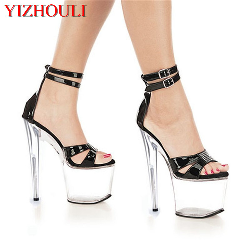 HOT Free shipping 20cm ultra high heels shoes sexy crystal star dinner party formal dress shoes 8 inch clear platform sandals 15cm ultra high heels sandals ruslana korshunova platform crystal shoes the bride wedding shoes