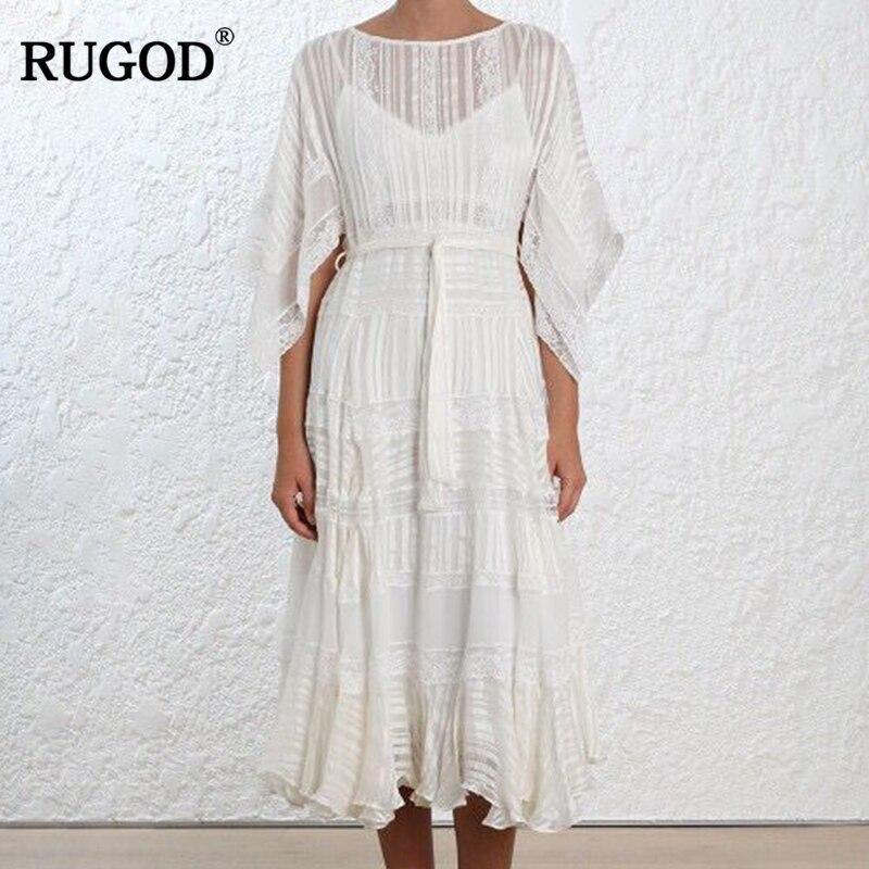 RUGOD Elegant White Hollow Out Waistband Lace Dress Women 2018 Summer Fashion Batwing Sleeve Big Hem Long Dresses Robe Femme batwing sleeve pocket side curved hem textured dress
