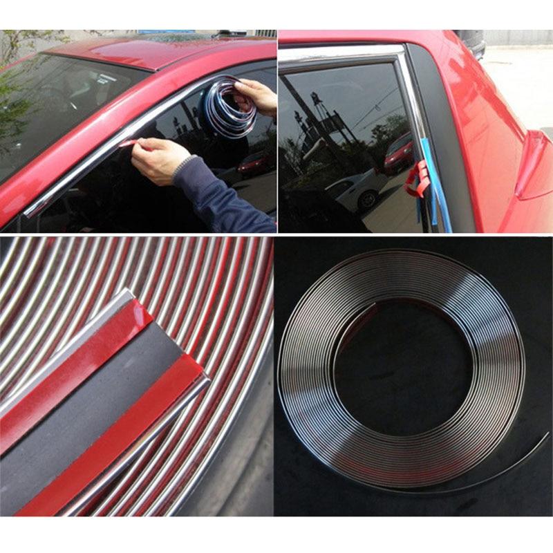 MAYITR 15m * 15mm Car Chrome Moulding Trim Strip Tape DIY Decoration Auto Door Edge Guard Protector