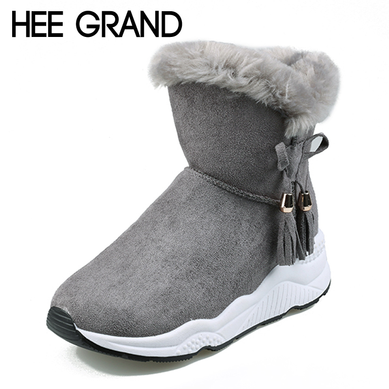 HEE GRAND Fringer Faux Suede Snow Boots Creepers Platform Casual Shoes Woman Winter Warm Fur inside Women Ankle Boots XWX6940 platform bow faux fur ankle boots