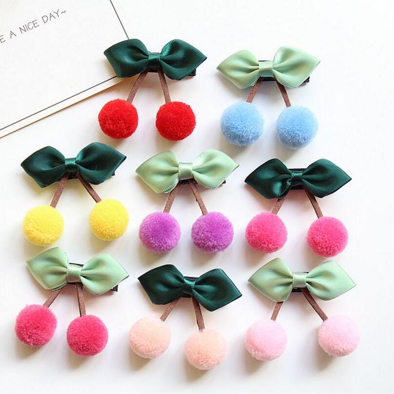 8PCS cute cherry hair clip barrette hair ties rubber band hair bow Toddlers girl ribbon pom pom haripin kids hair accessories Z8 family ties