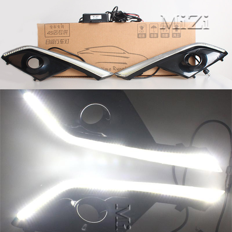1Set LED DRL Daytime Running Lights 12v With Fog Lamp Hole Waterproof For Mazda CX-3 CX3 2016 2017 High Quality Brightness high quality h3 led 20w led projector high power white car auto drl daytime running lights headlight fog lamp bulb dc12v