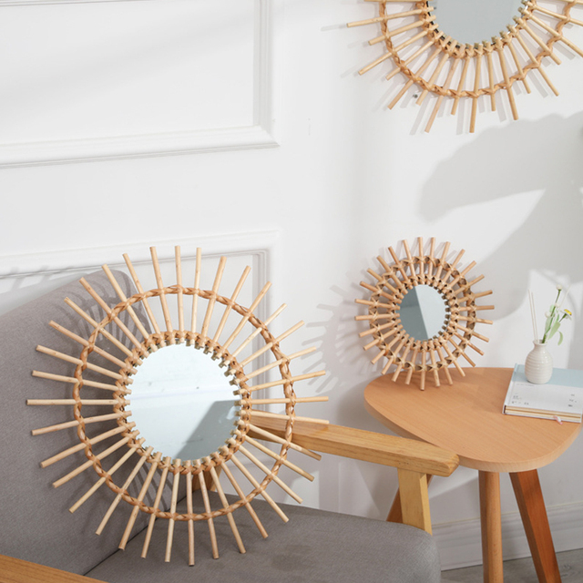 Compact Wall Hanging Mirror Clear Round Space Saving Rattan Dressing Mirror Portable Interior Gifts Art Decor Living Room Home 1