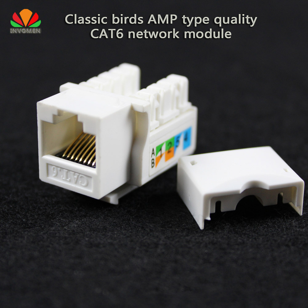все цены на 2pcs/lot birds style CAT6 network module information socket RJ45 computer connector Cable adapter Keystone Jack онлайн