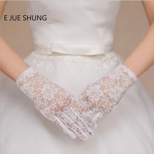 E Jue Shung In Stock White Lace Bridal Gloves Full Finger Short Wedding
