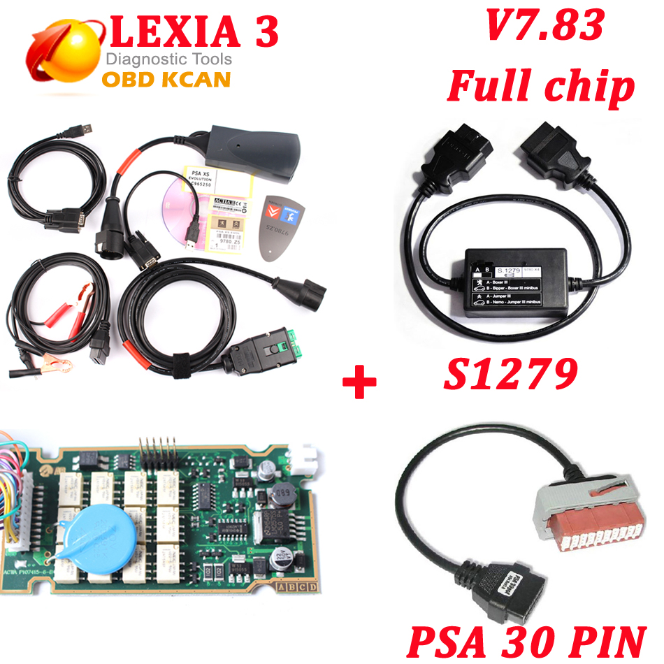 Diagbox V7 83 lexia3 full chip with 921815C firmware Lexia 3 V48 diagnostic  tool Lexia-3 PP2000 V25+S1279+PSA 30 pin cable