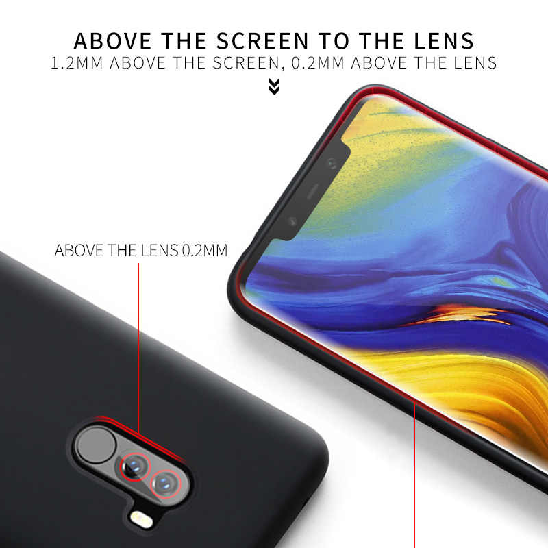 POCOPHONE F1 funda suave de silicona líquida funda trasera Pocophon F1 Red mi Note 7 K20 Xiaomi mi 8 lite funda a prueba de golpes 9 SE 9T mi 9