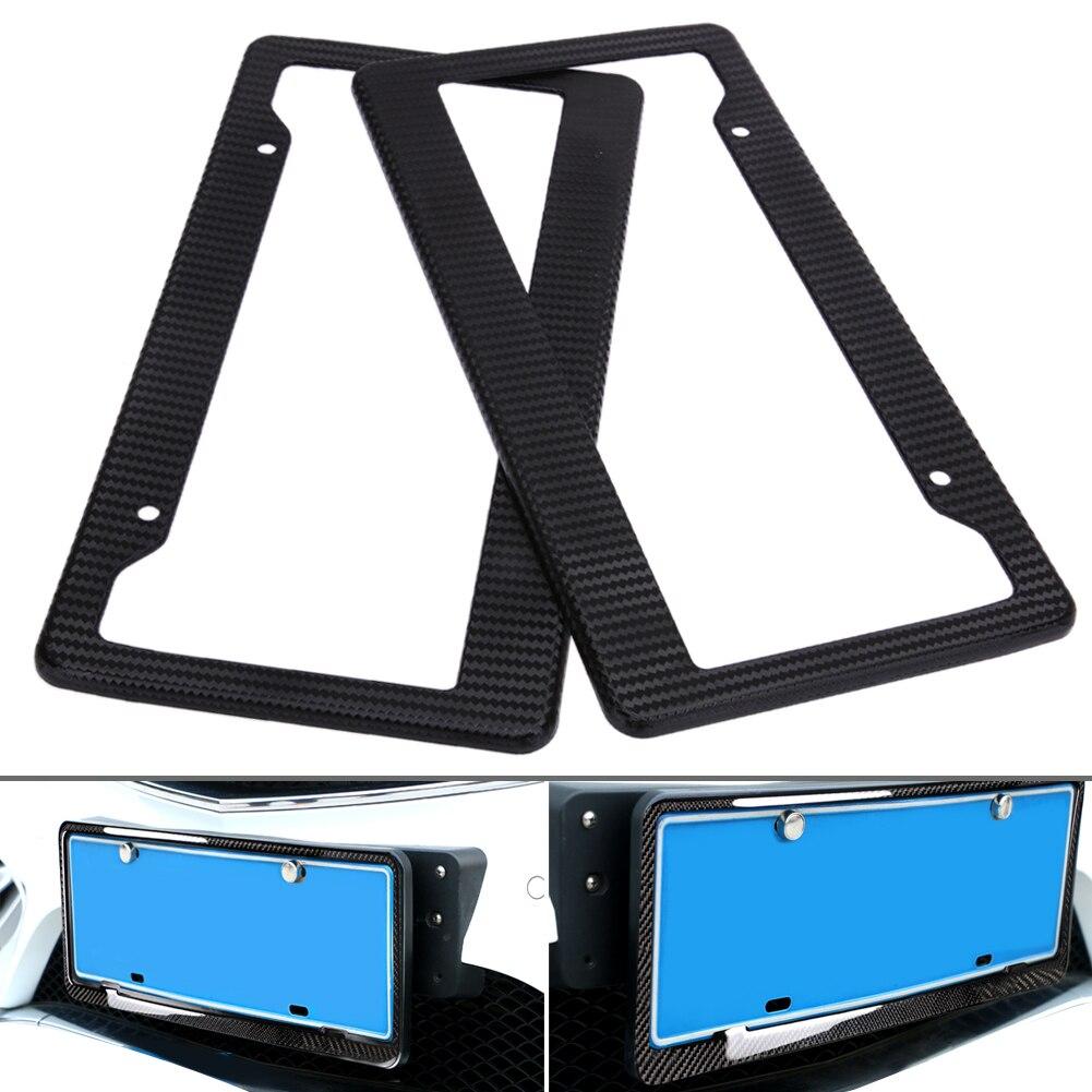 2pcs Carbon Fiber Pattern Car License Plate Frames Tag