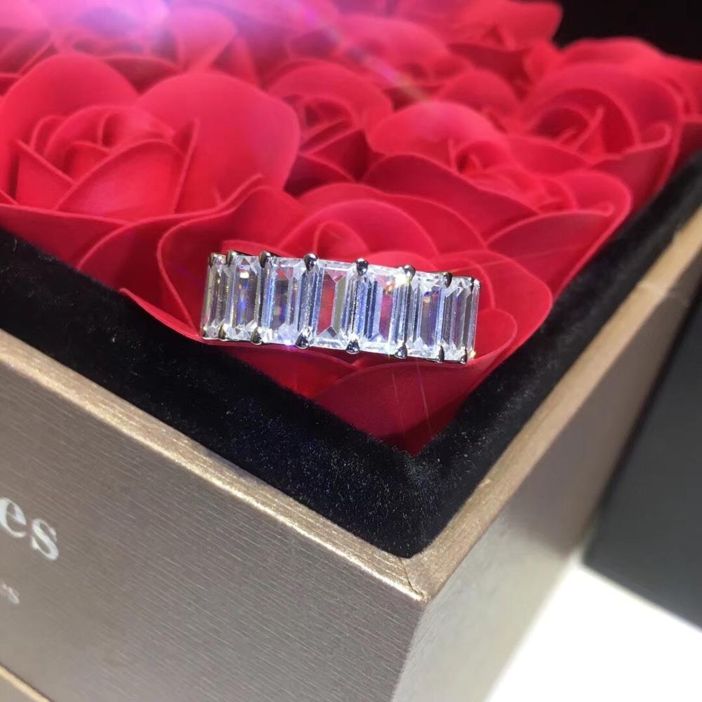 Marque de luxe bijoux S925 argent pur coréen femmes carré zircon anneau publicité personnalité anneau pour les femmes
