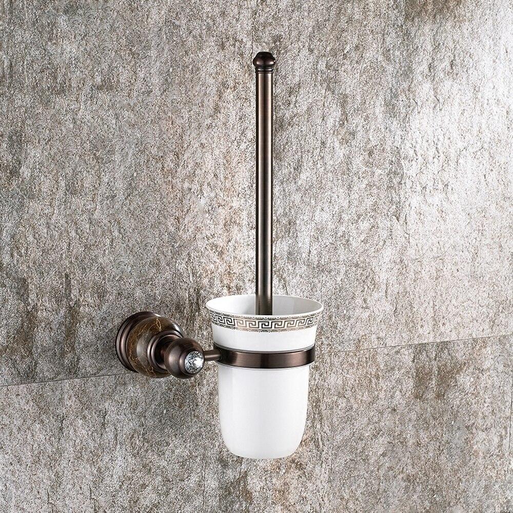 European antique toilet brush black ceramic toilet cup toilet cleaner bathroom copper toilet shelf lo81459 simple bathroom ceramic wash four piece suit cosmetics supply brush cup set gift lo861050