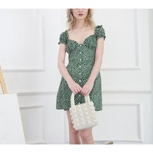 Summer Sweet Women Floral Print Frill Trim Floral Print Dress Heart Neck Green Puff Sleeve  Mini Dresses girls calico print blouse with frill trim shorts