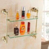 Bathroom Shelves Tempered Double Glass Shelf Holder in Bathroom Towel Rack Storage Wall Shelf Gold Bath Holder Towel Bars