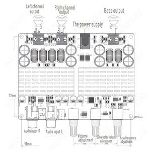 Image 5 - TPA3116 50 Вт + 50 Вт Bluetooth USB TF декодер 2,1 канала цифровой усилитель мощности плата 2,1 цифровой усилитель мощности