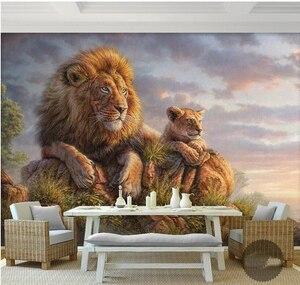 3D фотообои с изображением Льва и Тигра для гостиной, дивана, 3d настенные фотообои, 3d настенные Стикеры