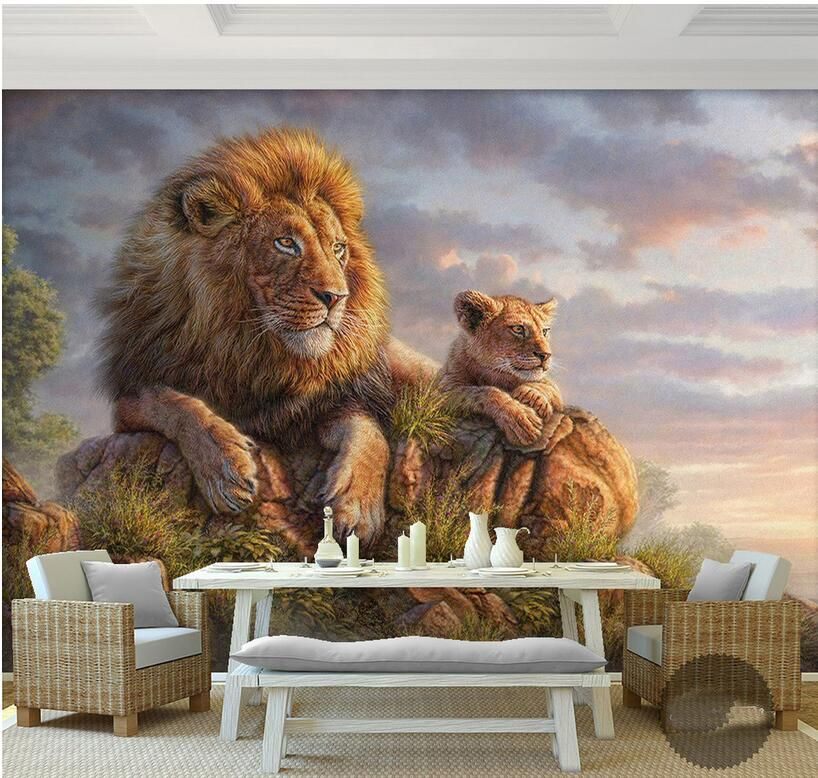 Lion and Tiger Animal 3D Papel Mural Wallpaper for Living room Sofa Background 3d Wall Photo Murals Wall paper 3d Wall Sticker custom 3d photo wallpaper mural nordic cartoon animals forests 3d background murals wall paper for chirdlen s room wall paper