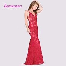 LEIYINXIANG 2019 Prom Dress Nuevo Vestido de Noche Largo Piso Longitud La Sirena Que Rebordea Lentejuelas Sexy Mermaid V-Neck