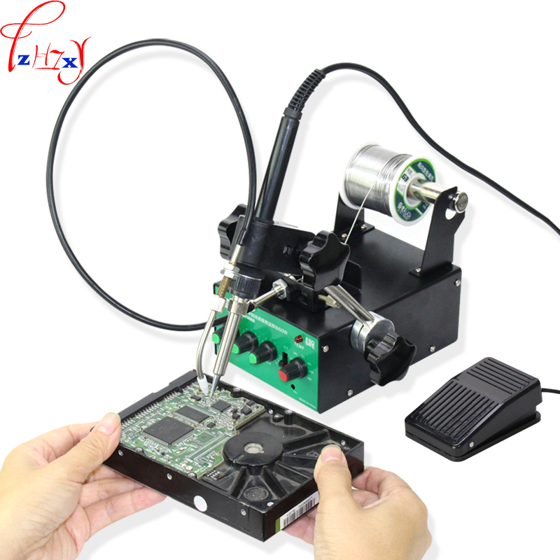 Desktop pedal automatic feed tin thermostatic welding table multi-function pedal automatic welding table 220V 1PC professional welding wire feeder 24v wire feed assembly 0 8 1 0mm 03 04 detault wire feeder mig mag welding machine ssj 18