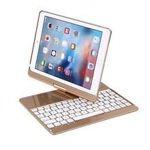 Ultra-thin Aluminum 7 Colors Backlit Bluetooth Keyboard Smart Rotate Folio Case For New iPad/Pro9.7/Air/Air2 17Nove24