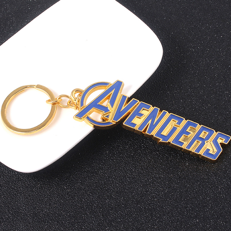 SG Hot Movie The Avengers 4 Blue Letter Keychains Super Hero Thor Hammer Mjolnir Keyring Women Iron Man Loki Chaveiro Jewelry in Key Chains from Jewelry Accessories