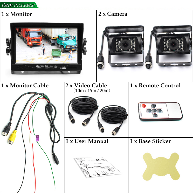DC12~24V Truck Bus 7 Inch LCD Car Parking Monitor With Aviation joint 2 Ways Rear View Camera Video Input - 6