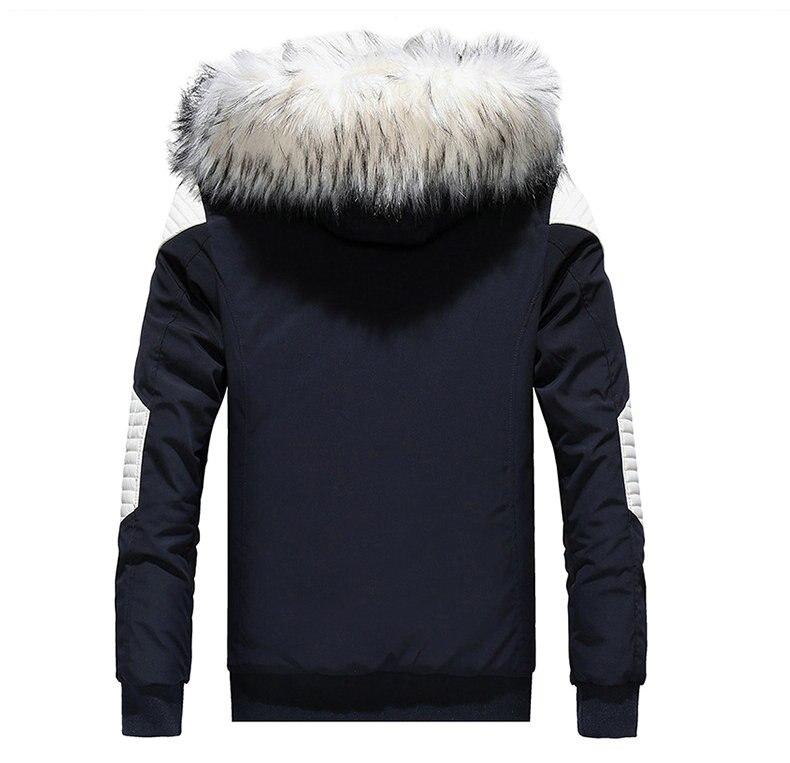 Autumn Winter Jacket Men 18 New Big Fur Hooded Thick Warm Mens Winter Coats Patchwork Color Windproof Parka Men Outwear 5