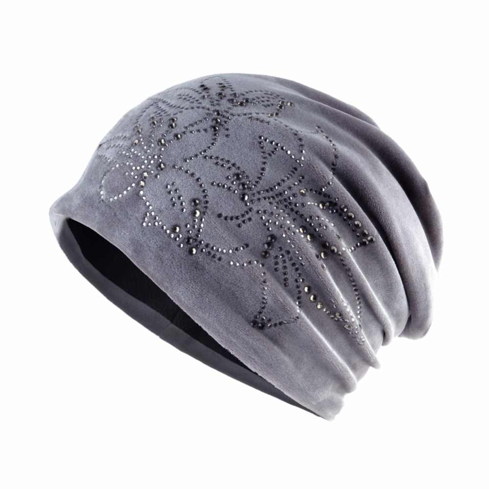TQMSMY de las mujeres de la marca Beanie Lily Flor de diamantes de  imitación sombrero las 510d72827e86