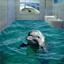Пользовательские Фото Этаж Обои 3D Ванная Комната Милый Дельфин Подводный Мир Гостиная Спальня самоклеящиеся Напольные Настенные Обои