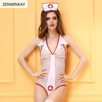 Sexy Nurse Costume Erotic Costumes Sexy Cosplay Women White Mesh Role Play Lingerie Wear Sex Clothes 2 Pieces Set
