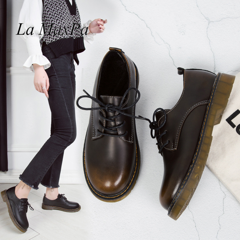 Women Pu Leather Oxford Shoes Woman Flats Brogues Spring Vintage Handmade Laces Loafers Casual Gradient Moccasins Sapatos