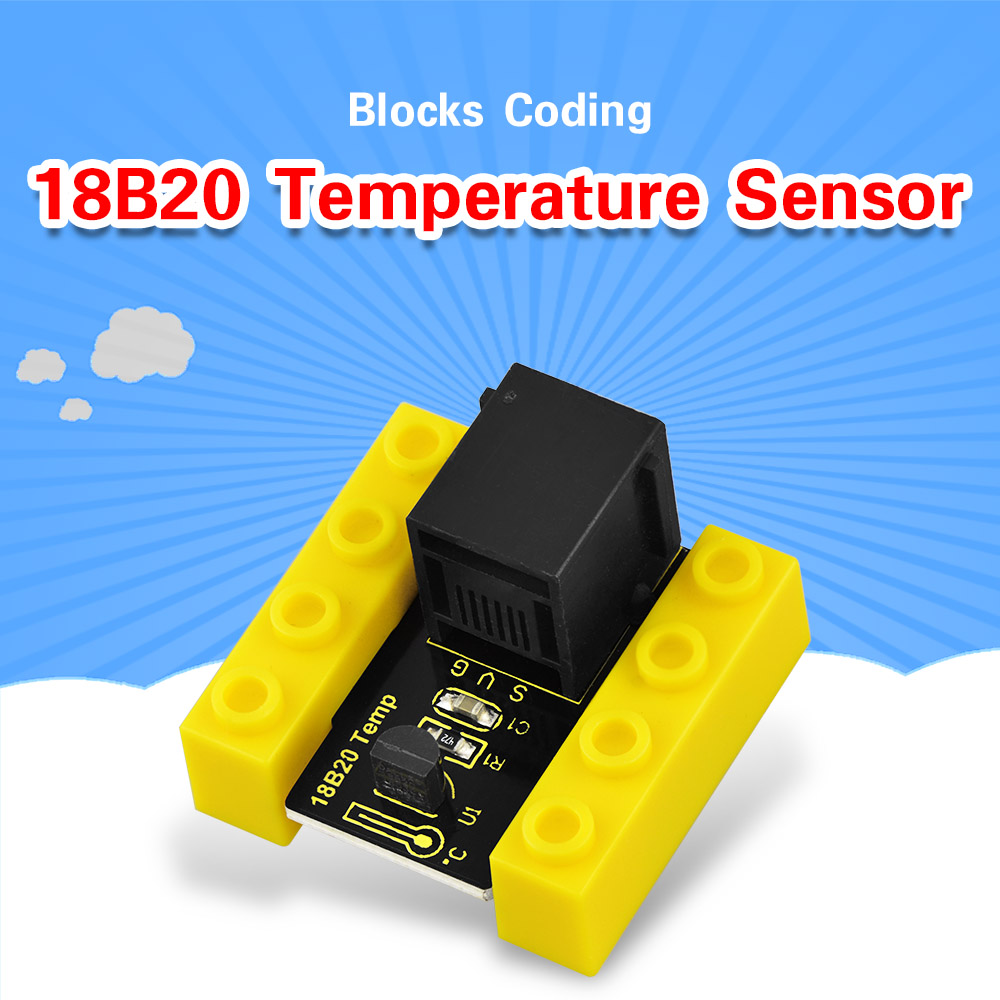 Kidsbits Blocks Coding 18B20 Temperature Sensor Module For Arduino STEAM EDU(Black And Eco Friendly)