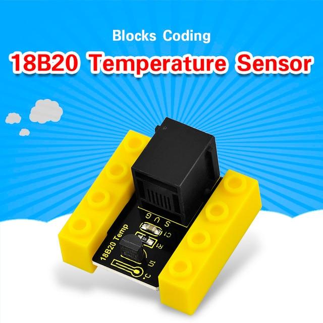 Kidsbits Blöcke Codierung 18B20 Temperatur Sensor Modul für Arduino DAMPF EDU (Schwarz und Umweltfreundliche)