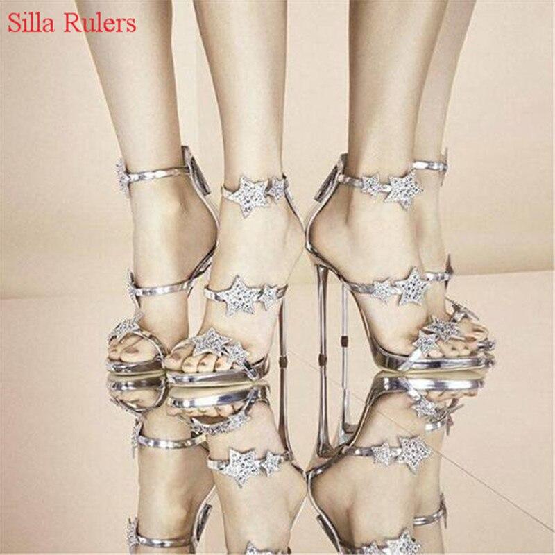 Cristal Gladiateur Femme Talons forme Pompes as Étoiles Des Catwolk D'été As Sandales Chaussures Strass Femmes Picture Picture Plate Sandalias Hauts zSUVpqM