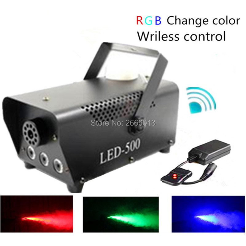 DHL Free Shipping Wireless Control LED 500W Smoke Machine RGB Color LED Fog Machine Professional Fogger