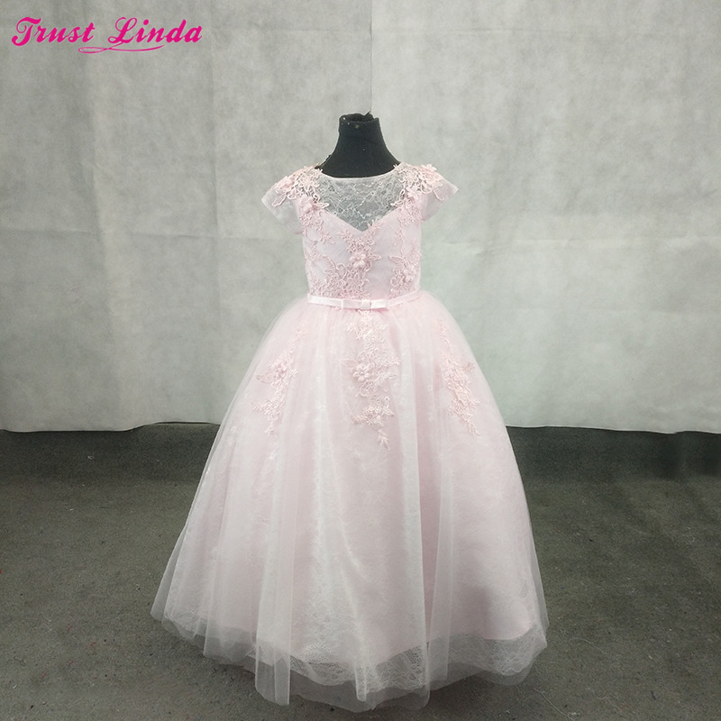 Flower     Girl     Dress   for Wedding 2018 Pink Lace Appliques Pearls Ball Gown   Girl   Party Communion   Dress   Pageant Gowns Custom Made