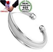 OMHXZJ Wholesale fashion jewelry geometric double line woman kpop star Fine 999 Sterling Silver opening bracelet Bangles SZ22