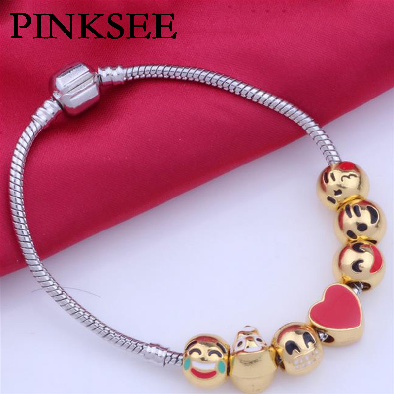 PINKSEE New Arrival Christmas Gifts Gold Emoji Expression Beads Fits European Pan Charm Bracelets DIY Men Jewellery