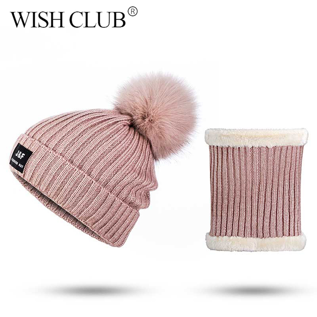 WISH CLUB High Quality Women Winter Hat Women's Scarf Thickened Warm Neck Scarf Causal Hat For Girl Female Hat Scarf Set