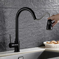 Kitchen Pull Out Cool Black Painted Finish Flexible Hot And Cold Mixer Taps Deck Mount Swivel