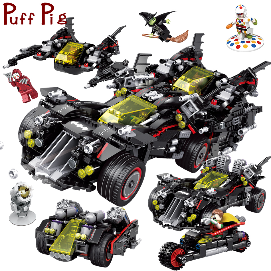1683PCS 4in1 Super Heroes Bat Man's Fighter Attack Truck Figures Building Blocks Compatible Legoed Technic Car Toys For Children цена